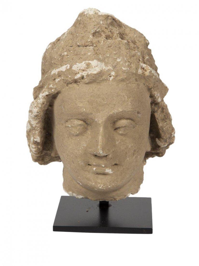 Ancient Gandharan Stucco head of Buddha, c.2nd century
