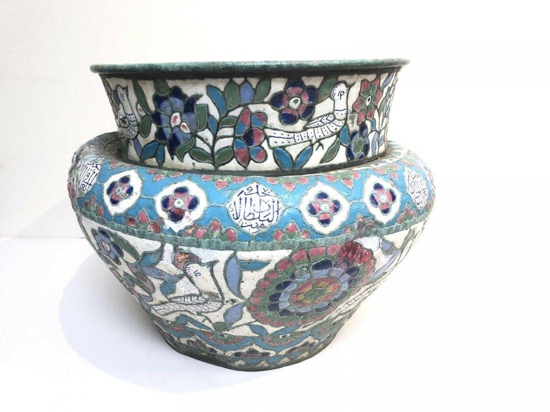 19th century Large Ottoman Syrian Enamel Bowl
