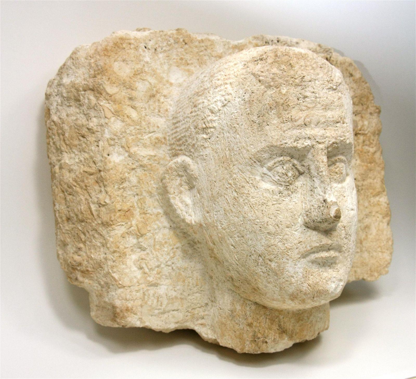 Large Ancient Egyptian Roman Limestone Head of a Man