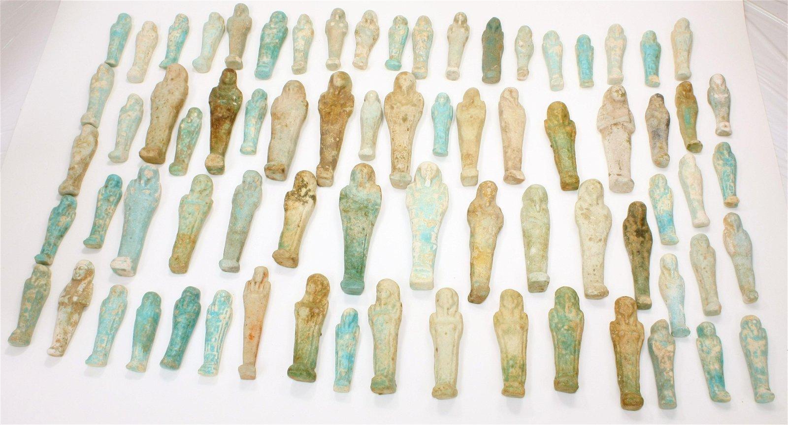 Lot of 73 Ancient Egyptian Faience Ushabti Figures
