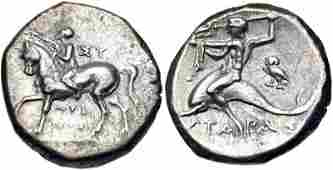 Ancient CALABRIA Tarentum Circa 272240 BC AR Nomos