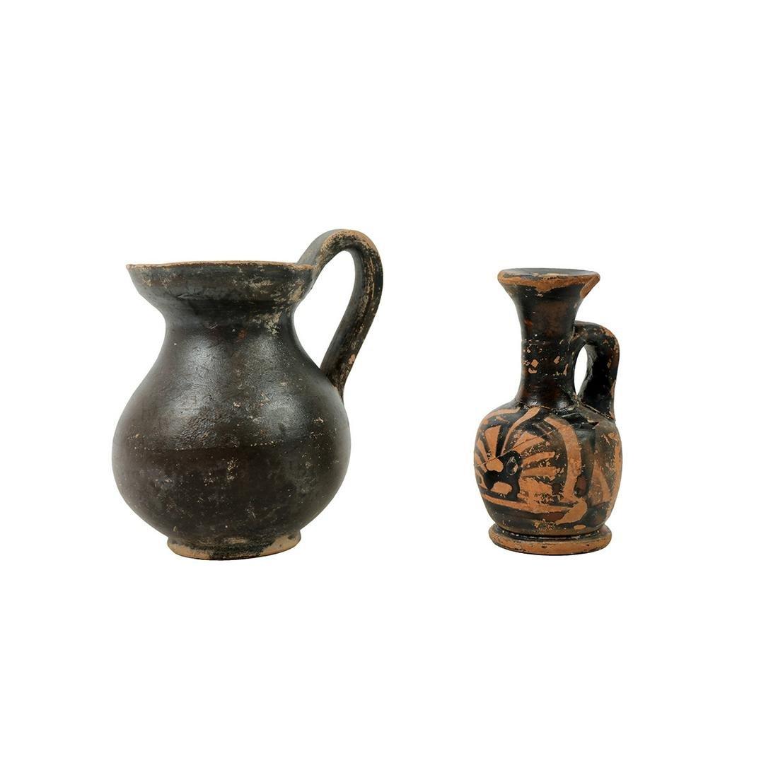 Lot of 2 Ancient Greek Apulian Pottery Vessels c.4th