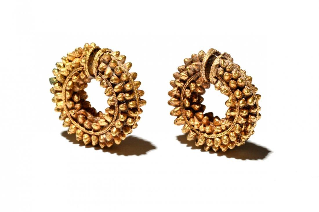 Ancient Parthian Gold Earrings Ca. 300 B.C.
