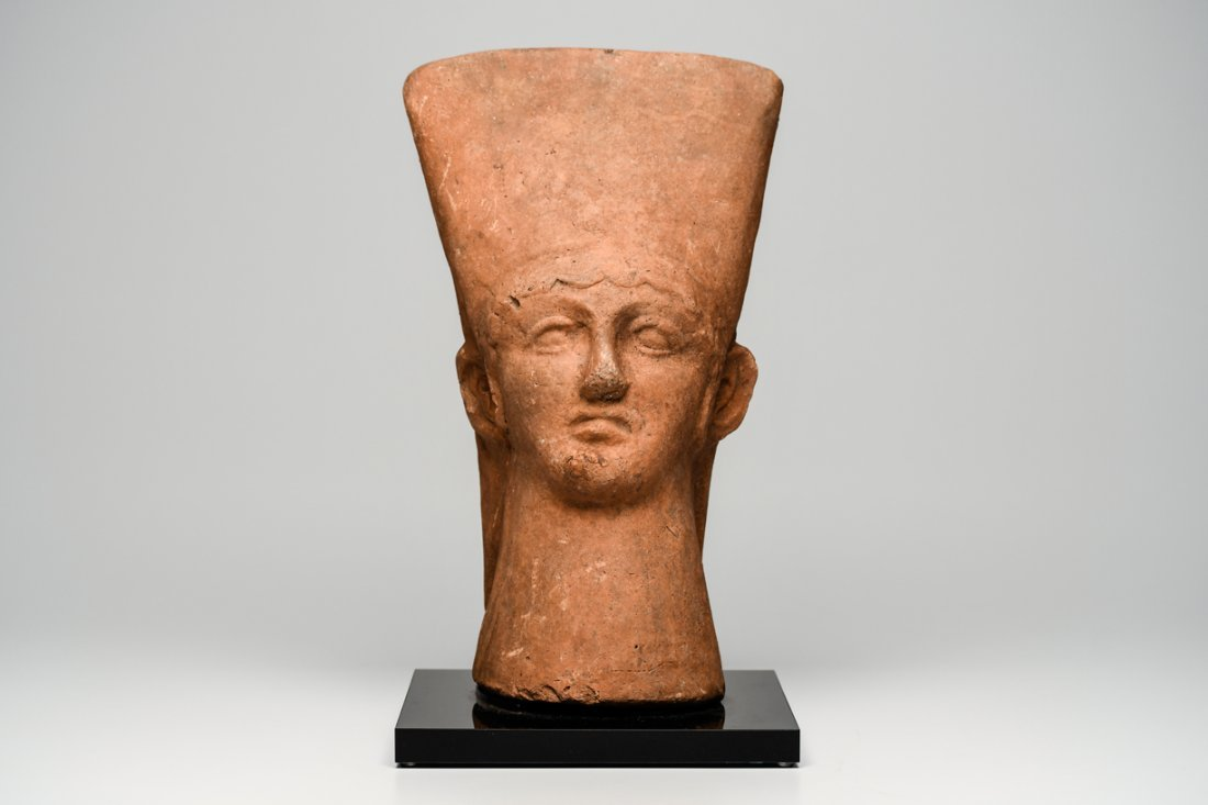 Ancient Etruscan Large Pottery Male Head Ex Christies