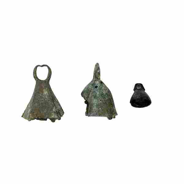 Lot of 3 Ancient Roman Bronze Bells c.1st-4th century