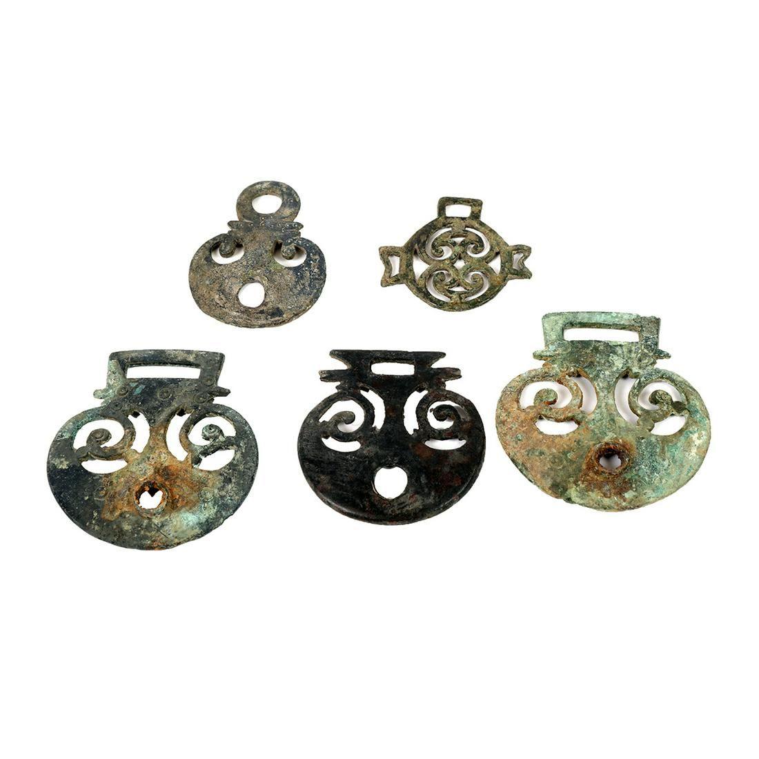 Lot of 5 Ancient Roman Bronze Belt Buckle Ornaments