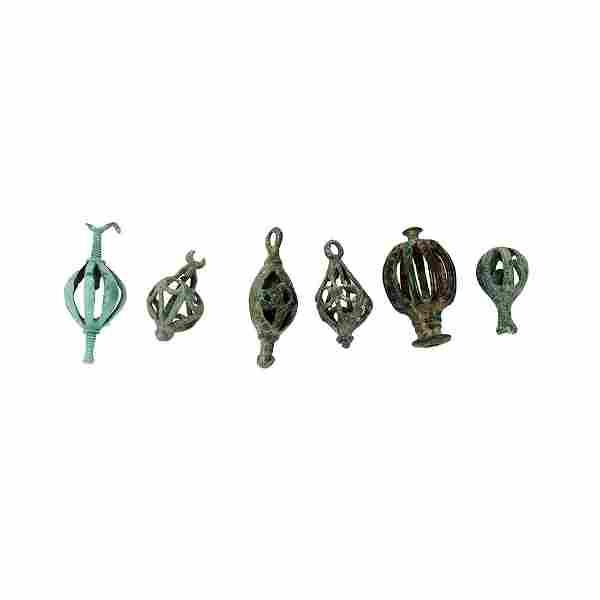 Lot of 6 Ancient Roman Bronze Bells c.1st-4th century
