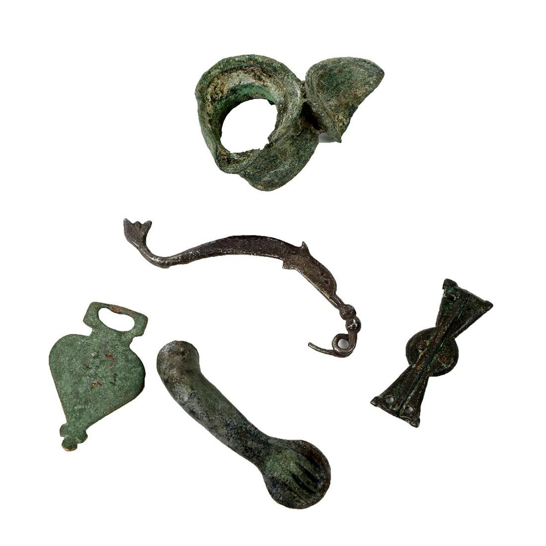 Lot of 5 Ancient Roman Bronze Ornaments c.1st-4th