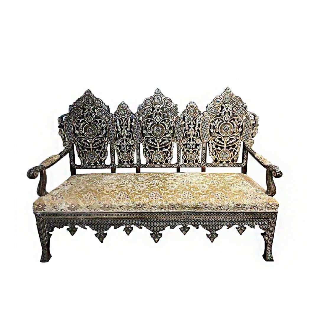 Ottoman Syrian Mother Of Pearls Wood Couch c.19th cent