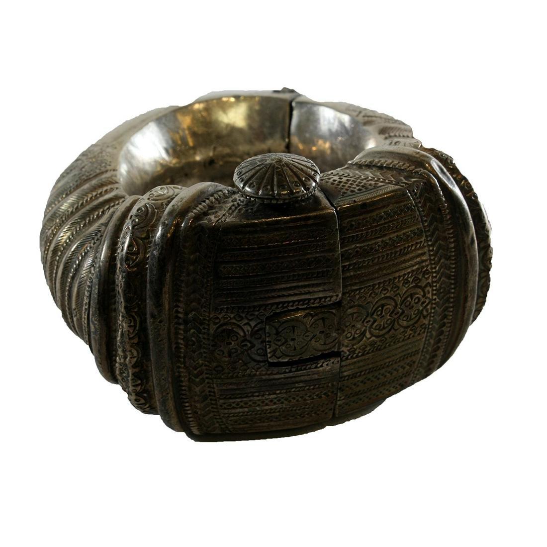 Large Antique Middle Eastern Tribal Art Silver Bracelet