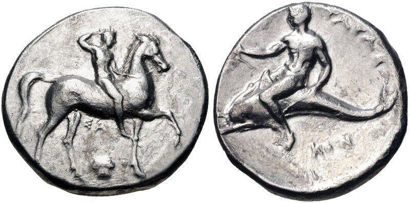 Ancient Greek CALABRIA, Tarentum. Circa 302 BC. AR Nomo
