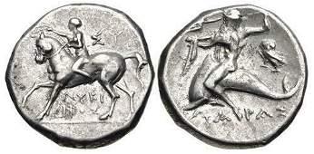 Ancient Greek CALABRIA Tarentum Ca 272240 BC coin