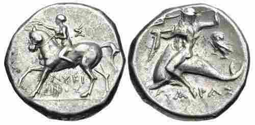 Ancient Greek CALABRIA. Tarentum. Ca. 272-240 BC. coin