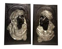 A Pair of plaques Depicts two Arabian figures by Arthur