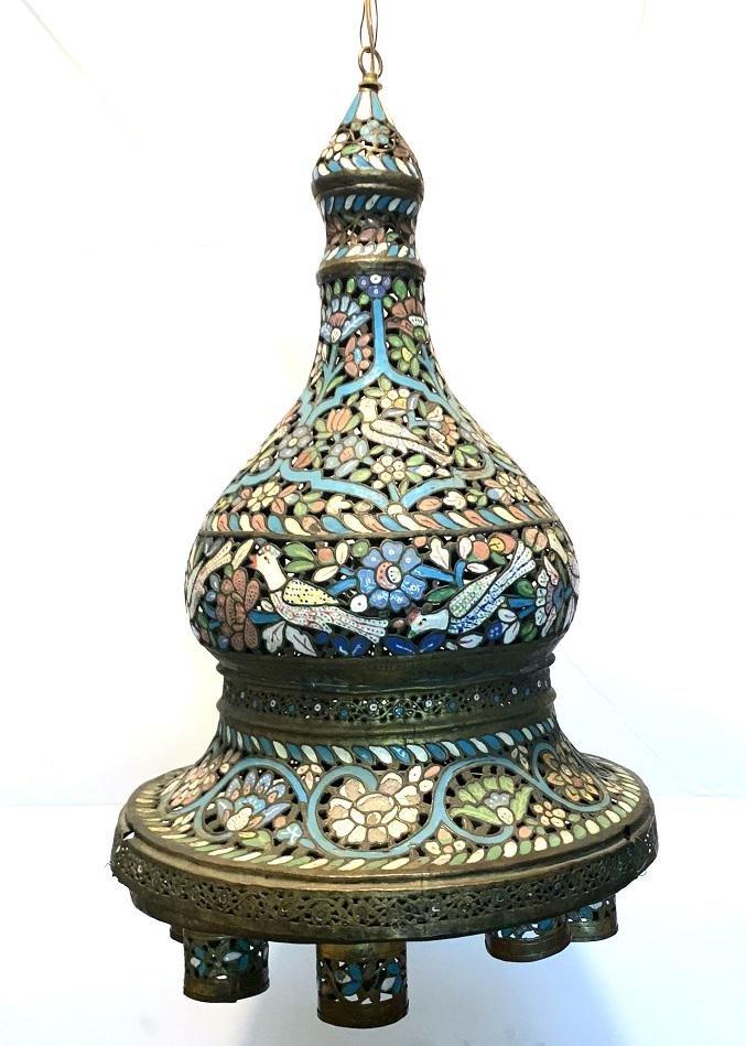 Large Islamic Ottoman Syrian enamel Lamp c.19th