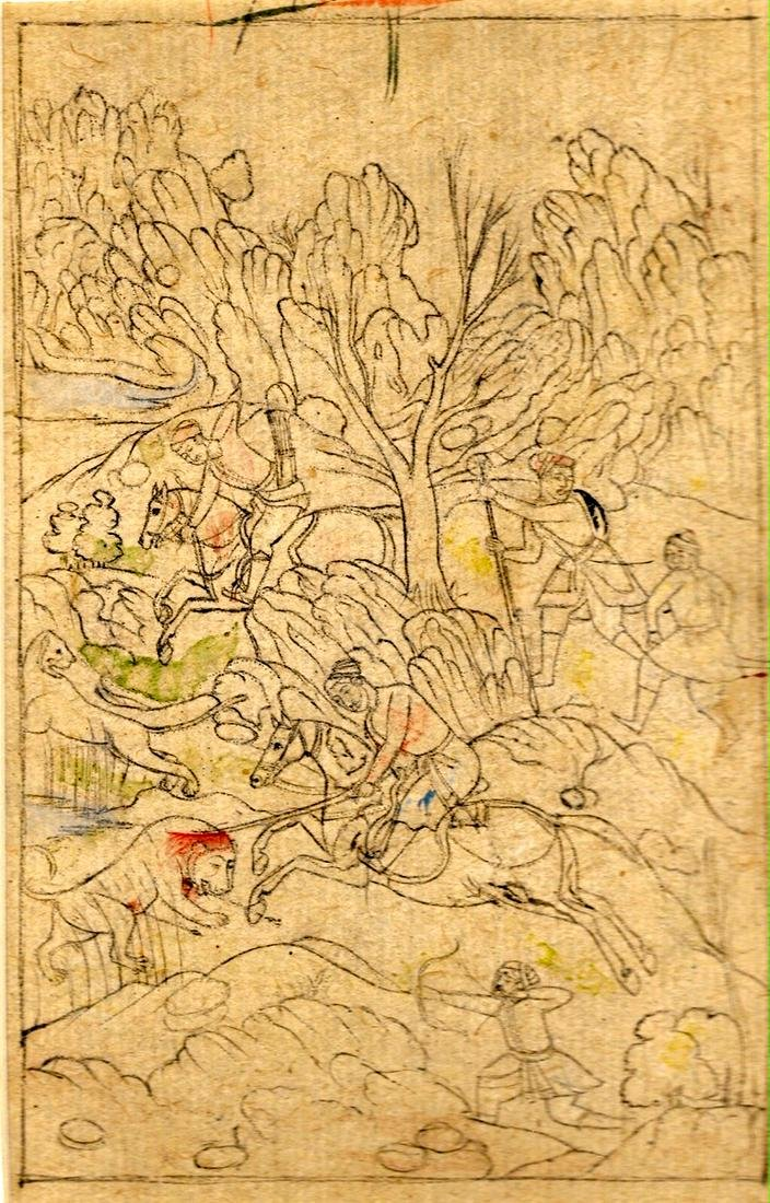 Mughal India sketch on gouache of a Mughal king hunting