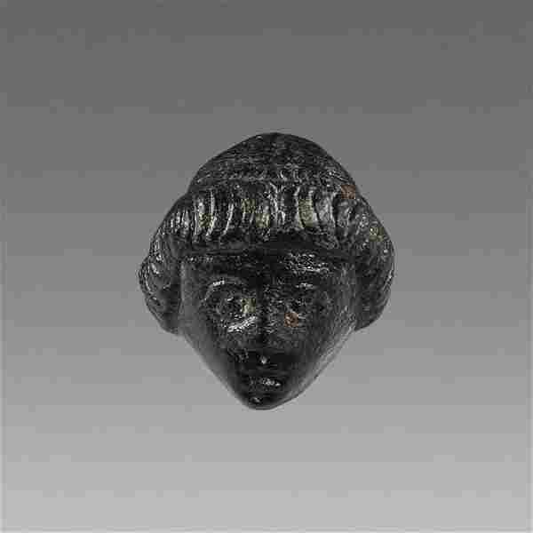 Ancient Roman Bronze Applique with Youth head c.2nd-3rd