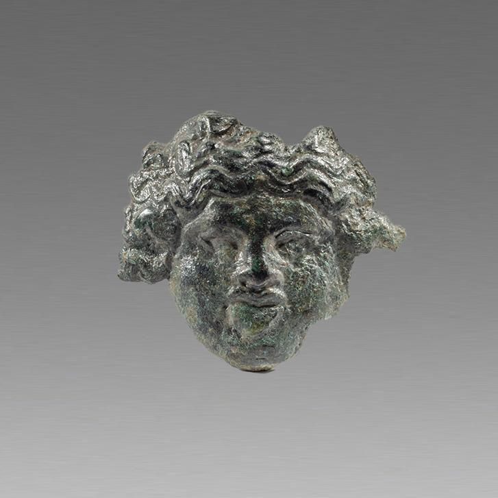 Ancient Roman Bronze Applique with Medusa c.2nd cent