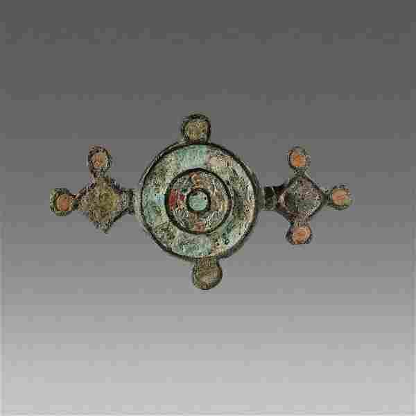 Ancient Roman Enameled Bronze Brooch Fibula c.2nd cent