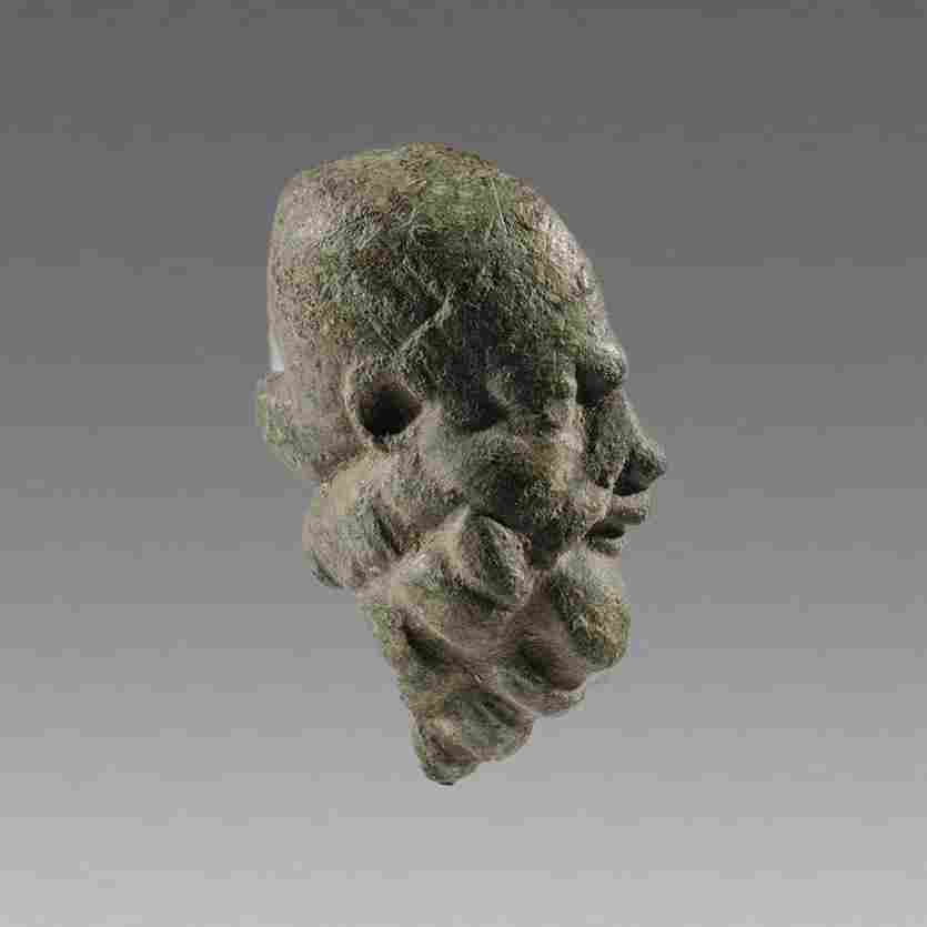 Ancient Roman Bronze Bearded Head of Satyr c.2nd cent