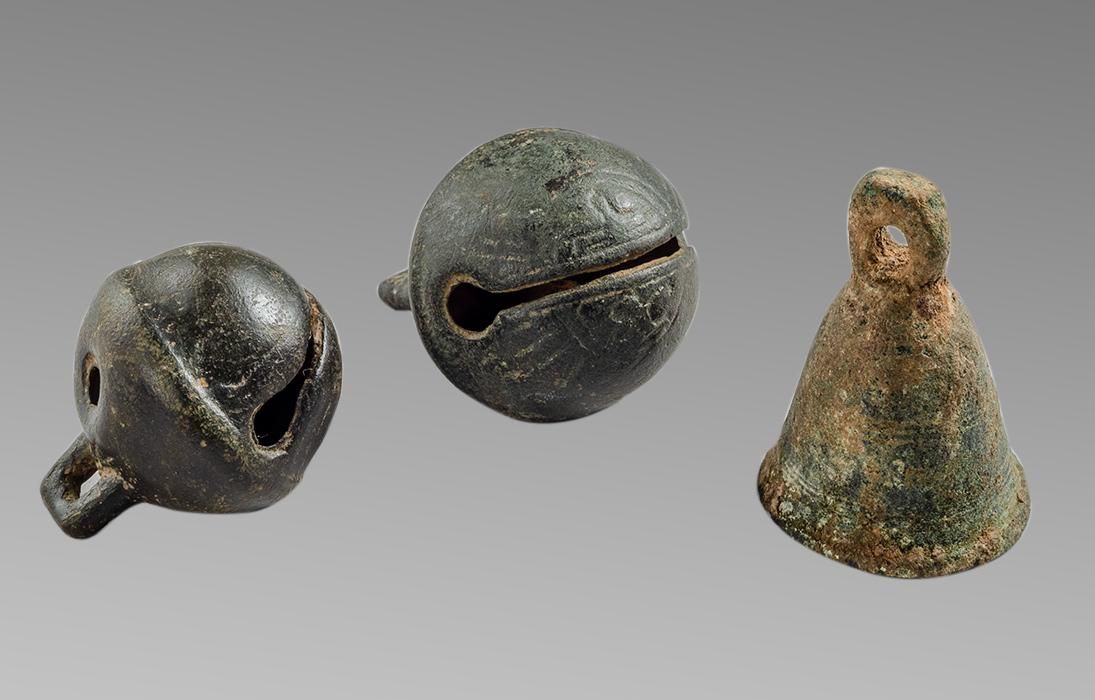 Lot of 3 Large Ancient Roman Bronze Bells c.2nd-4th