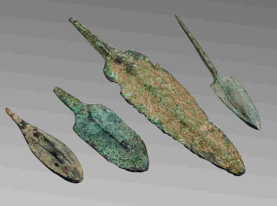 Lot of 4 Ancient Luristan Bronze Arrow heads c.1200 BC.