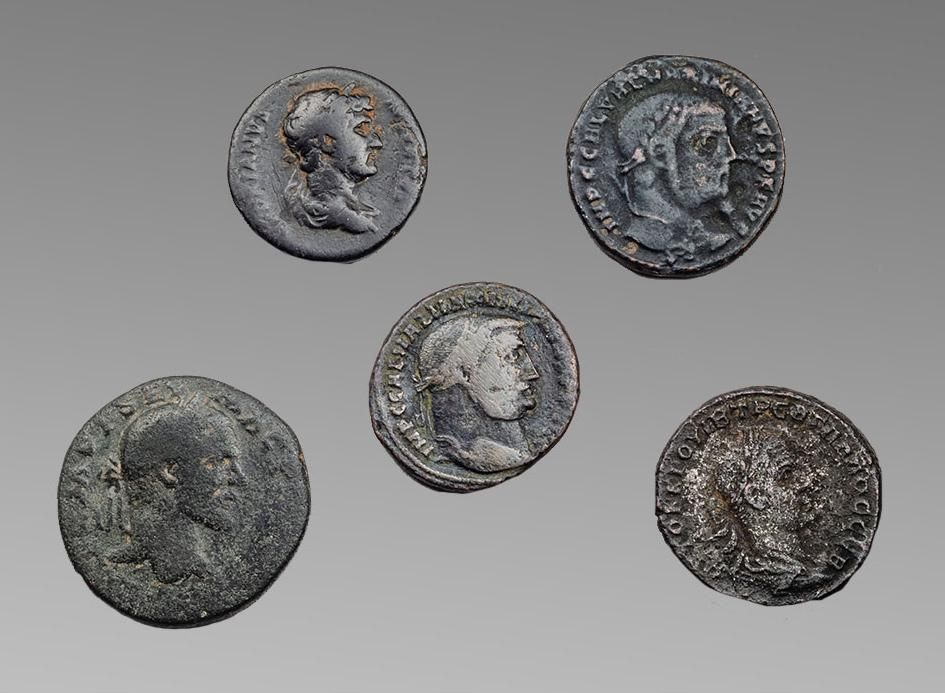 Lot of 5 Ancient Roman Bronze Coins c.1st-3rd cent AD.