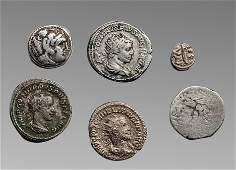 Lot of 6 Ancient Greek, Roman Silver coins c.4th cen