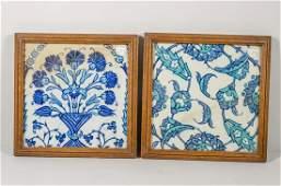 Lot of 2 Ottoman Iznik Ceramic Tiles c.17th century.