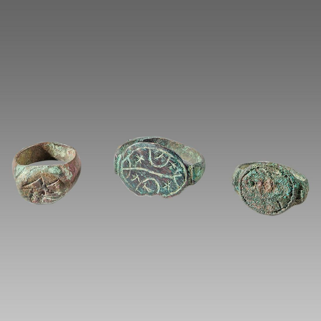 Lot of 3 Ancient Roman Bronze Rings c.2nd century AD.