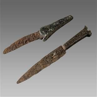 Lot of 2 Ancient Roman Bronze Knifes c.2nd-4th century
