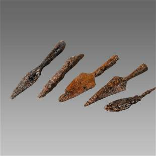 Europe, Lot of 5 Iron Arrowheads c.12th-16th cent AD.