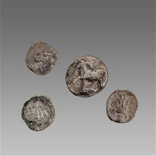 Lot of 4 Ancient Greek Silver Coins obols c.3rd-2nd