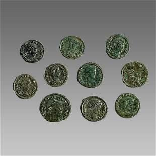 Lot of 10 Ancient Roman Bronze Coins c.3rd century AD.