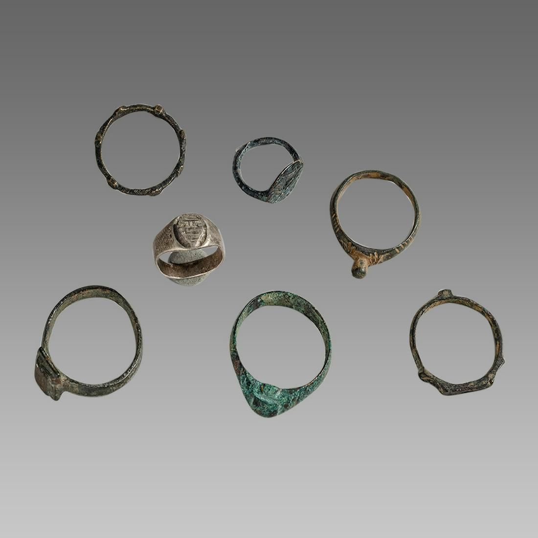Lot of 7 Ancient Roman, bronze Rings c.1st-4th century