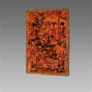 19th century Islamic Persian Qajar papier mache mirror