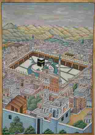 """A Large painting of inner view, mecca the """"HOLY KABBA """""""