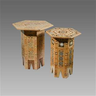 Lot of 2 Middle Eastern Wood Tables Syria, Morrish.