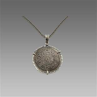 Tibetan Bronze coin set in Silver Necklace 19th