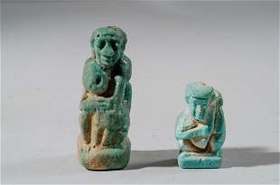 Lot of 2 Ancient Egyptian Erotic Faience Amulets