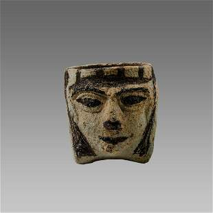 Ancient Egyptian Faience Headed Cup Late period