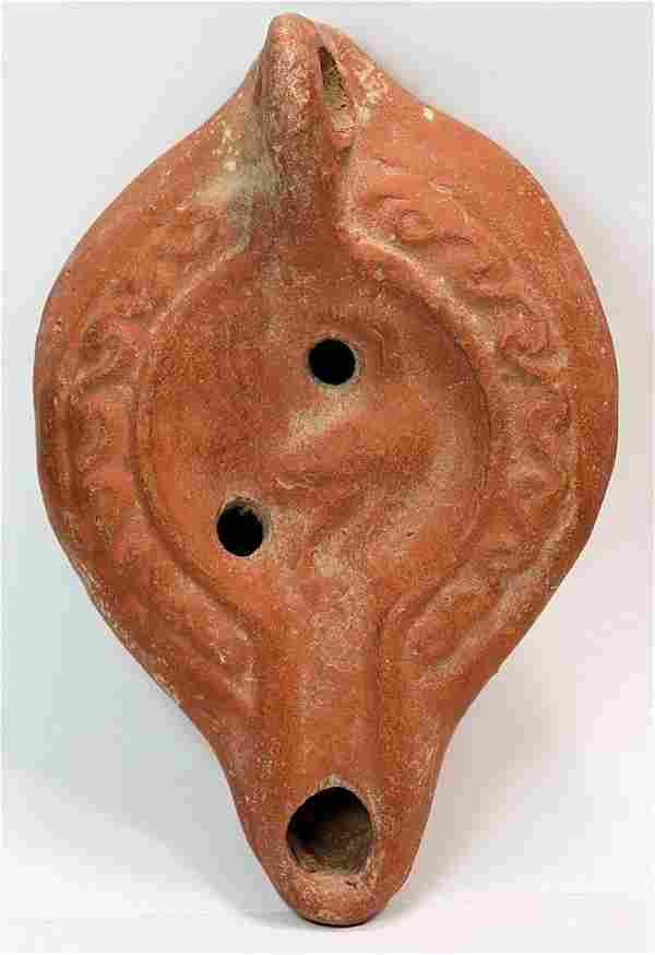 Ancient Roman Red Clay Oil Lamp with Bird c.200 AD.