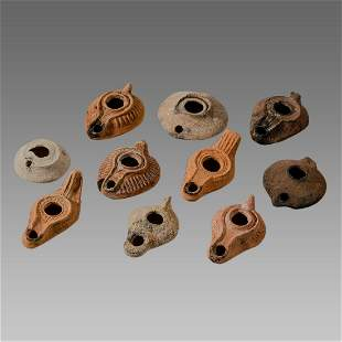 Lot of 10 Ancient Roman, Byzantine Terracotta Oil Lamps