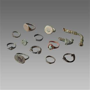 Lot of 13 Ancient Roman Bronze Rings c.2nd-3rd century