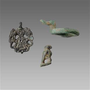 Lot of 3 Ancient Roman Bronze Buckle, Eagle c.2nd-3rd