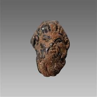 Ancient Roman Bronze Head Of Pan Ca.1st-2nd century AD.