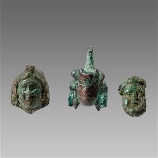 Lot of 3 Ancient Roman Bronze Face Applique c.2nd/4th