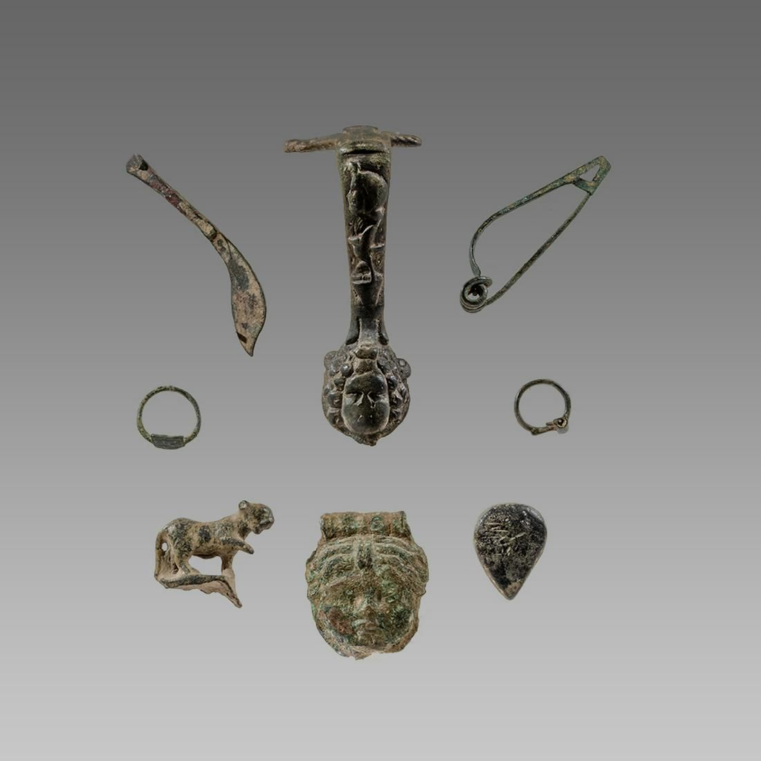 Collection of 8 Ancient Roman Bronze figures, ornaments