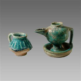Lot of 2 Islamic Persian Ceramic Oil Lamp/Jug c.13th