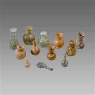 Lot of 12 Ancient Roman, Islamic Glass Bottles